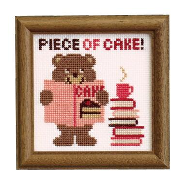 Embroidery Kit designed by Toshie Ishii. Olympusクロスステッチ刺繍キット no7343「くま」(おどけたクマのかわいいフレーム) HAPPY STITCH オリムパス
