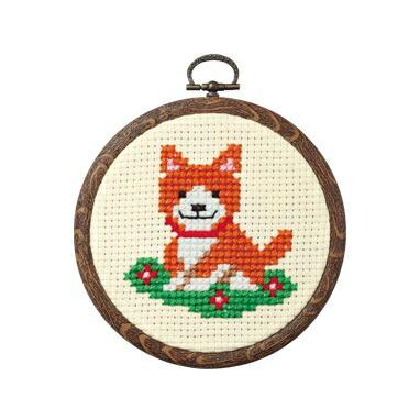 Olympusクロスステッチ刺繍キット7346 「イヌとお花」 おしゃれフープ フルーツ&フラワー オリムパス 1日で完成! かんたんクロス・ステッチ 小さななかまたちシリーズ