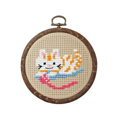 Olympusクロスステッチ刺繍キット7347 「ネコと毛糸」 おしゃれフープ フルーツ&フラワー オリムパス 1日で完成! かんたんクロス・ステッチ 小さななかまたちシリーズ