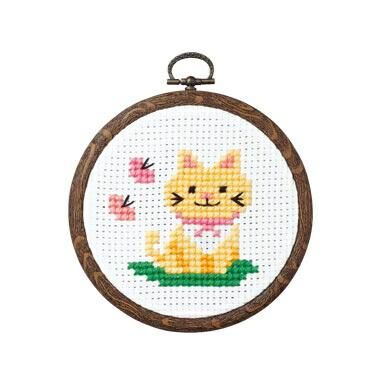 Olympusクロスステッチ刺繍キット7348 「ネコとちょう」 おしゃれフープ フルーツ&フラワー オリムパス 1日で完成! かんたんクロス・ステッチ 小さななかまたちシリーズ