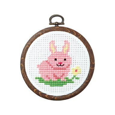 Olympusクロスステッチ刺繍キット7350 「ウサギとお花」 おしゃれフープ フルーツ&フラワー オリムパス 1日で完成! かんたんクロス・ステッチ 小さななかまたちシリーズ