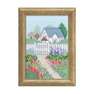 【額付】Olympusクロスステッチ刺繍キット7408「春の庭」 越智通子ミニ・フレーム 小さな旅の思い出 オリムパス