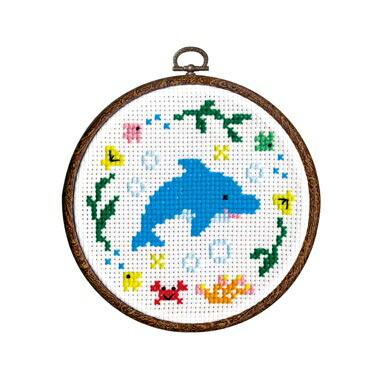 1日で完成! かんたんクロス・ステッチ Olympusクロスステッチ刺繍キット7418 「イルカ」 わくわくステッチ cross stitch kit オリムパス 専用フープ付き