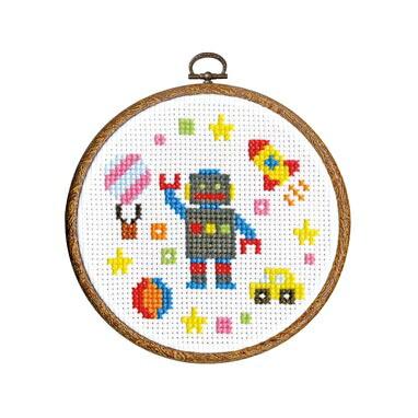 1日で完成! かんたんクロス・ステッチ Olympusクロスステッチ刺繍キット7420 「おもちゃ」 わくわくステッチ cross stitch kit オリムパス 専用フープ付き