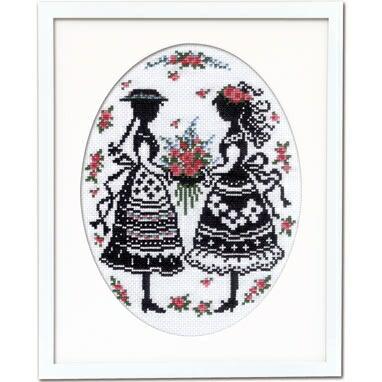 Olympusクロスステッチ刺繍キット7455「アンとダイアナ」赤毛のアンの物語 オリムパス オノエ・メグミ シルエットシリーズ シルエットで描く愛らしいししゅうの世界