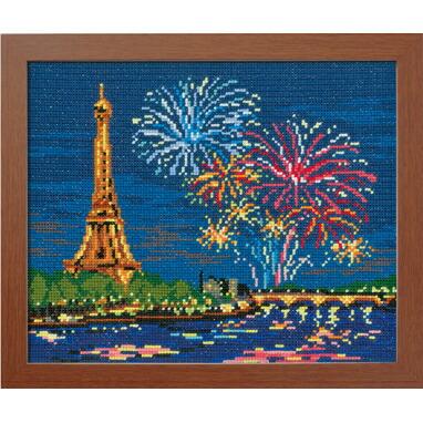 Olympusクロスステッチ刺繍キット7477 「エッフェル塔と花火」 (フランス) パリ
