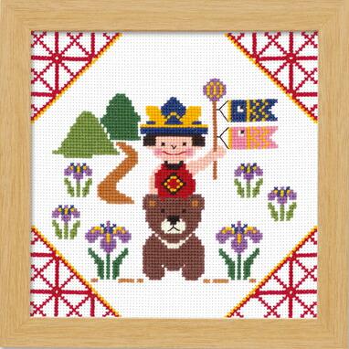 Olympusクロスステッチ刺繍キット 7478 「金太郎とくま」 端午の節句 子供の日