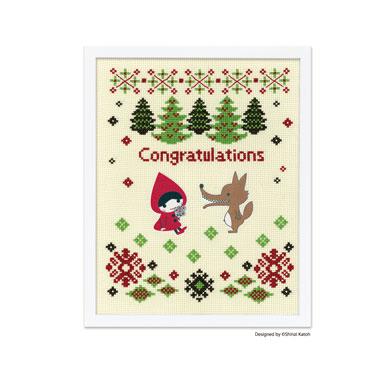 Olympusクロスステッチ刺繍キット 7496 「Red Hood & the Wolf (レッドフードアンドザウルフ)」 フロッキーワッペン入り Shinzi Katoh Handicraft Cross-Stitch Kit