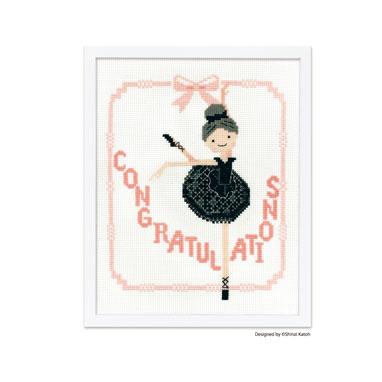 Olympusクロスステッチ刺繍キット 7497 「Ballerina (バレリーナ)」 フロッキーワッペン入り Shinzi Katoh Handicraft Cross-Stitch Kit