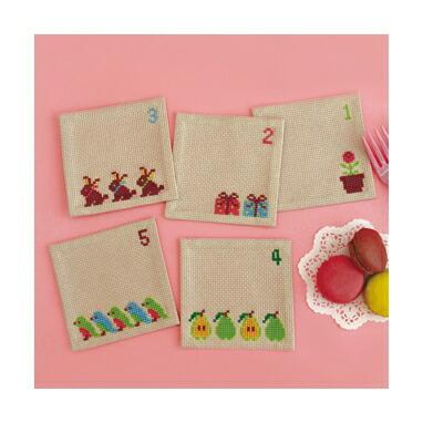 Embroidery Kit designed by Toshie Ishii. Olympusクロスステッチ刺繍キット no9003 「数あそび」 コースター5枚1組 HAPPY STITCH オリムパス