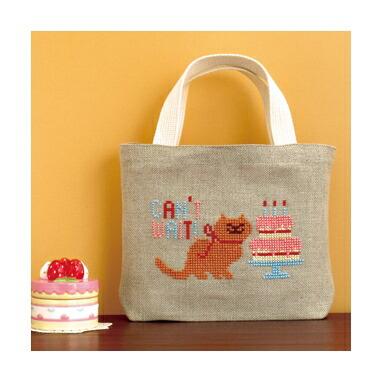 Embroidery Kit designed by Toshie Ishii. Olympusクロスステッチ刺繍キット no9004「ねこ」(ミニバッグ) HAPPY STITCH オリムパス