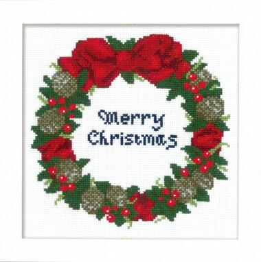 Olympusクロス刺繍キット X-106「木の実のリース」クリスマス クロスステッチフレーム Christmas Cross-stitch Flame