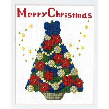 Olympusクロス刺繍キット X-107「聖夜のツリー」クリスマス クロスステッチフレーム Christmas Cross-stitch Flame