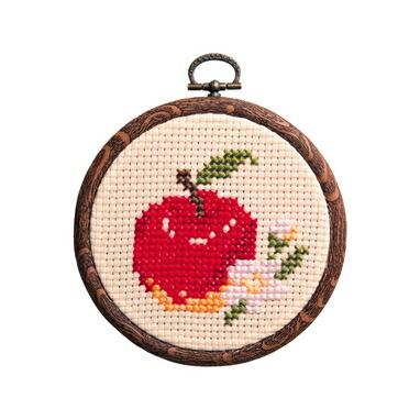 1日で完成! かんたんクロス・ステッチ Olympusクロスステッチ刺繍キット7327「リンゴ」 おしゃれフープ フルーツ&フラワー