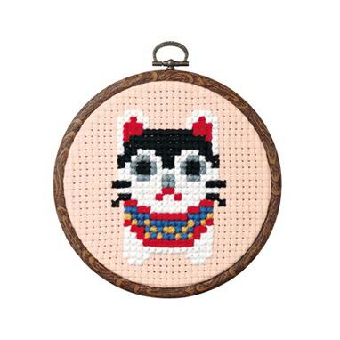 Olympusクロスステッチ刺繍キット7352 「張り子犬」 らくらくクロス・ステッチ縁起物 おしゃれフープ付 みんなでできちゃうシリーズ オリムパス