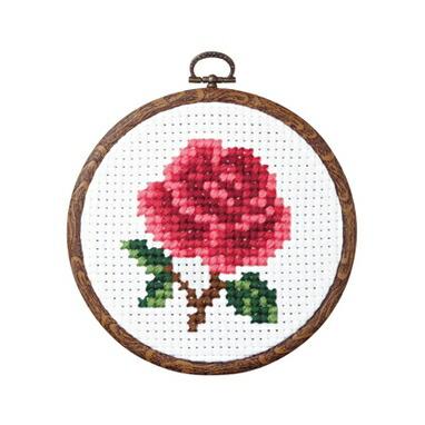 Olympusクロスステッチ刺繍キット7355 「バラ」 らくらくクロス・ステッチ フラワー おしゃれフープ付 みんなでできちゃうシリーズ オリムパス