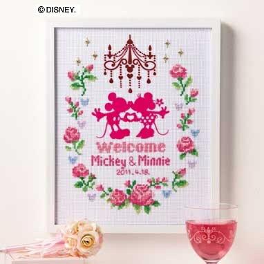 Olympusクロスステッチ刺繍キット 7372「ウェルカムボード (ピンク)」 ミッキーマウスとミニーマウスのウェルカムボード ディズニー MICKEY MOUSE and MINNIE MOUSE ウェディング, cDisney オリムパス