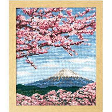 Olympusクロスステッチ刺繍キット7386 「桜と富士山」 オリムパス 四季を彩る日本の名所