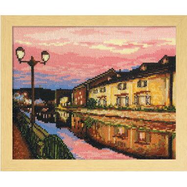 Olympusクロスステッチ刺繍キット7387 「夕暮れの小樽運河」 オリムパス 四季を彩る日本の名所