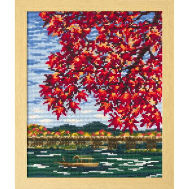 Olympusクロスステッチ刺繍キット7388 「紅葉の嵐山」 オリムパス 四季を彩る日本の名所