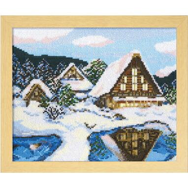 Olympusクロスステッチ刺繍キット7389 「雪の白川郷」 オリムパス 四季を彩る日本の名所