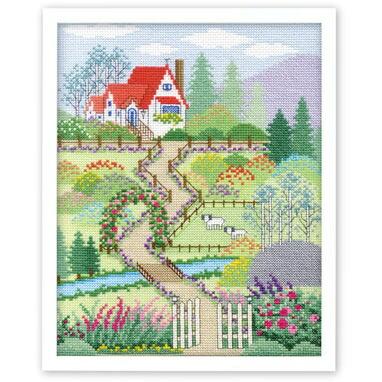 Olympusクロスステッチ刺繍キット 7398 「花園の家」 〜越智通子アート・フレーム〜 Memory of seasons 春