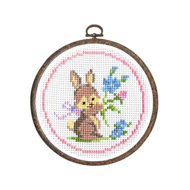 Olympusクロスステッチ刺繍キット7402「ウサギとお花」 森のかわいいなかまたち Animal forest オリムパス