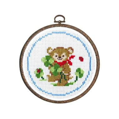 Olympusクロスステッチ刺繍キット7403「クマとクローバー」 森のかわいいなかまたち Animal forest オリムパス