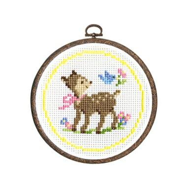 Olympusクロスステッチ刺繍キット7405「子ジカとコトリ」 森のかわいいなかまたち Animal forest オリムパス 子鹿と小鳥