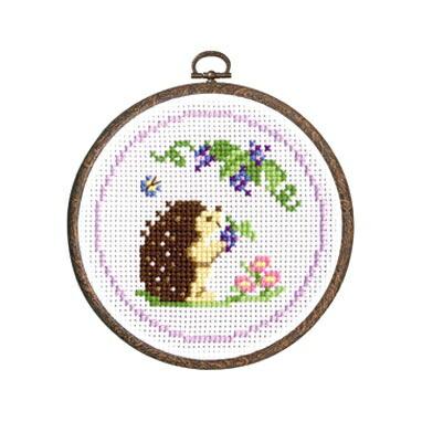 Olympusクロスステッチ刺繍キット7406「ハリネズミとブドウ」 森のかわいいなかまたち Animal forest オリムパス 針鼠と葡萄