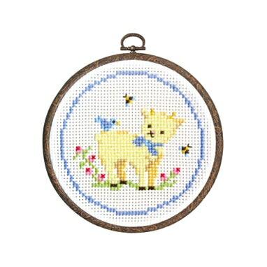 Olympusクロスステッチ刺繍キット7407「子ヤギとコトリ」 森のかわいいなかまたち Animal forest オリムパス 子山羊と小鳥