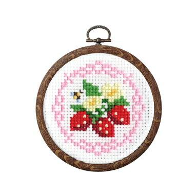 Olympusクロスステッチ刺繍キット 7443 「イチゴとレース」 おしゃれフープ フルーツ&フラワー第2弾 オリムパス