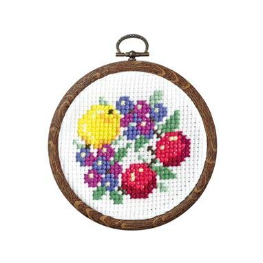 Olympusクロスステッチ刺繍キット 7447 「ブルーベリーのフルーツリース」 おしゃれフープ フルーツ&フラワー第2弾 オリムパス