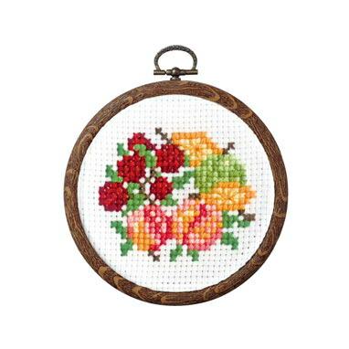 Olympusクロスステッチ刺繍キット 7448 「木いちごのフルーツリース」 おしゃれフープ フルーツ&フラワー第2弾 オリムパス