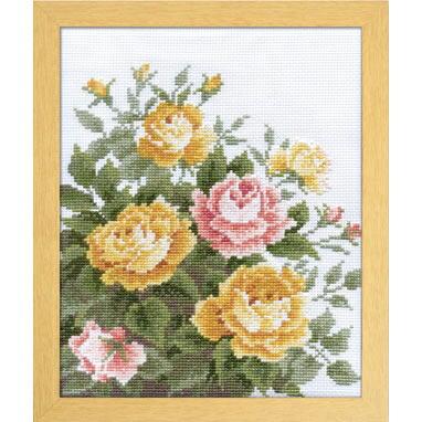 Olympusクロスステッチ刺繍キット 7449 「イエローローズ」 オノエ・メグミ ししゅうキットシリーズ 愛すべき花たち Yellow Rose バラ 薔薇 ばら
