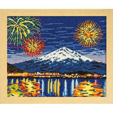 Olympusクロスステッチ刺繍キット7462 「河口湖冬花火と富士山」 オリムパス 四季を彩る日本の名所 冬 山梨県 世界遺産
