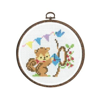 Olympusクロスステッチ刺繍キット7484「リスからの招待状」 森のかわいいなかまたち 第2弾 Animal forest オリムパス