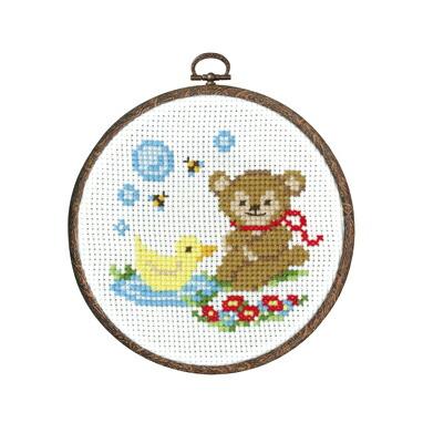 Olympusクロスステッチ刺繍キット7485 「クマとアヒルはなかよし」 森のかわいいなかまたち 第2弾 Animal forest オリムパス