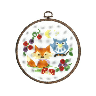 Olympusクロスステッチ刺繍キット7486 「フクロウの先生と子ギツネ」 森のかわいいなかまたち 第2弾 Animal forest オリムパス