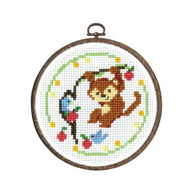 Olympusクロスステッチ刺繍キット7488 「サルのごあいさつ」 森のかわいいなかまたち 第2弾 Animal forest オリムパス
