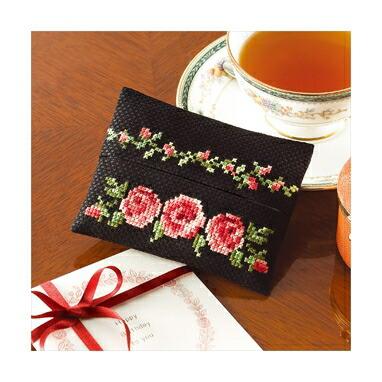 Olympusクロスステッチ刺繍キット No.9015 「ティッシュケース バラ」 花刺しゅうの優しい小物 Flower motif embroidery kit series