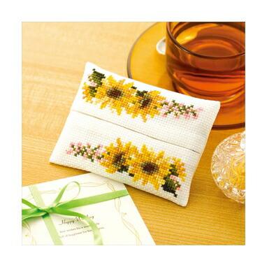 Olympusクロスステッチ刺繍キット No.9016 「ティッシュケース ヒマワリ」 花刺しゅうの優しい小物 Flower motif embroidery kit series