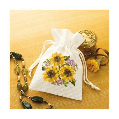 Olympusクロスステッチ刺繍キット No.9018 「きんちゃく ヒマワリ」 花刺しゅうの優しい小物 Flower motif embroidery kit series 巾着