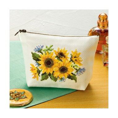 Olympusクロスステッチ刺繍キット No.9020 「ポーチ ヒマワリ」 花刺しゅうの優しい小物 Flower motif embroidery kit series ファスナー付け不要の半仕立て済みポーチつき