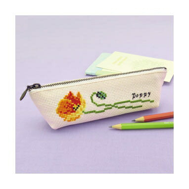 Olympusクロスステッチ刺繍キット No.9050 「ポピーのペンケース」Flower Embroidery フラワーエンブロイダリー