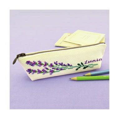 Olympusクロスステッチ刺繍キット No.9051 「ラベンダーのペンケース」Flower Embroidery フラワーエンブロイダリー