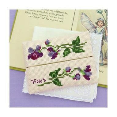 Olympusクロスステッチ刺繍キット No.9052 「スミレのティッシュケース」Flower Embroidery フラワーエンブロイダリー
