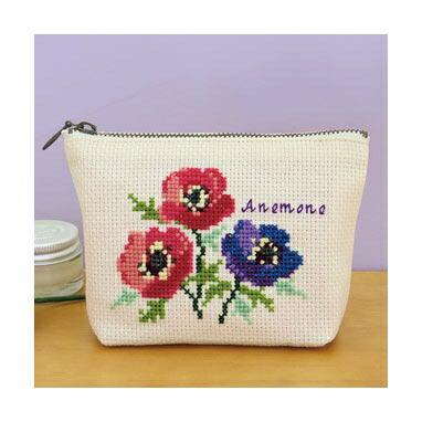 Olympusクロスステッチ刺繍キット No.9054 「アネモネのポーチ」Flower Embroidery フラワーエンブロイダリー
