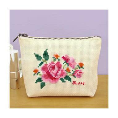 Olympusクロスステッチ刺繍キット No.9055 「バラのポーチ」Flower Embroidery フラワーエンブロイダリー