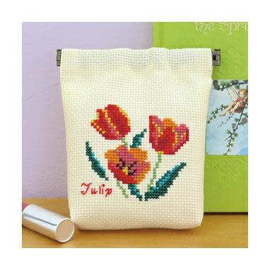 Olympusクロスステッチ刺繍キット No.9057 「チューリップのバネ口ポーチ」Flower Embroidery フラワーエンブロイダリー ばね口金